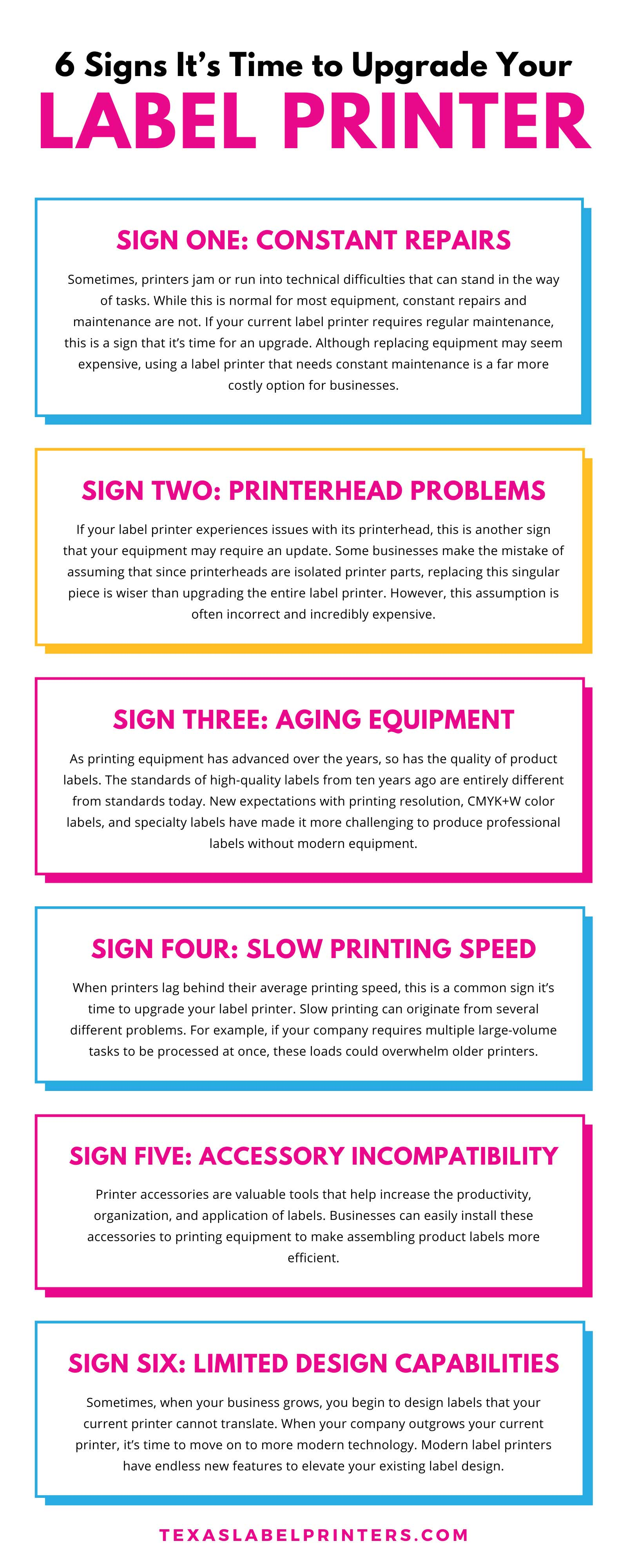 6 Signs It's Time to Upgrade Your Label Printer Infographic