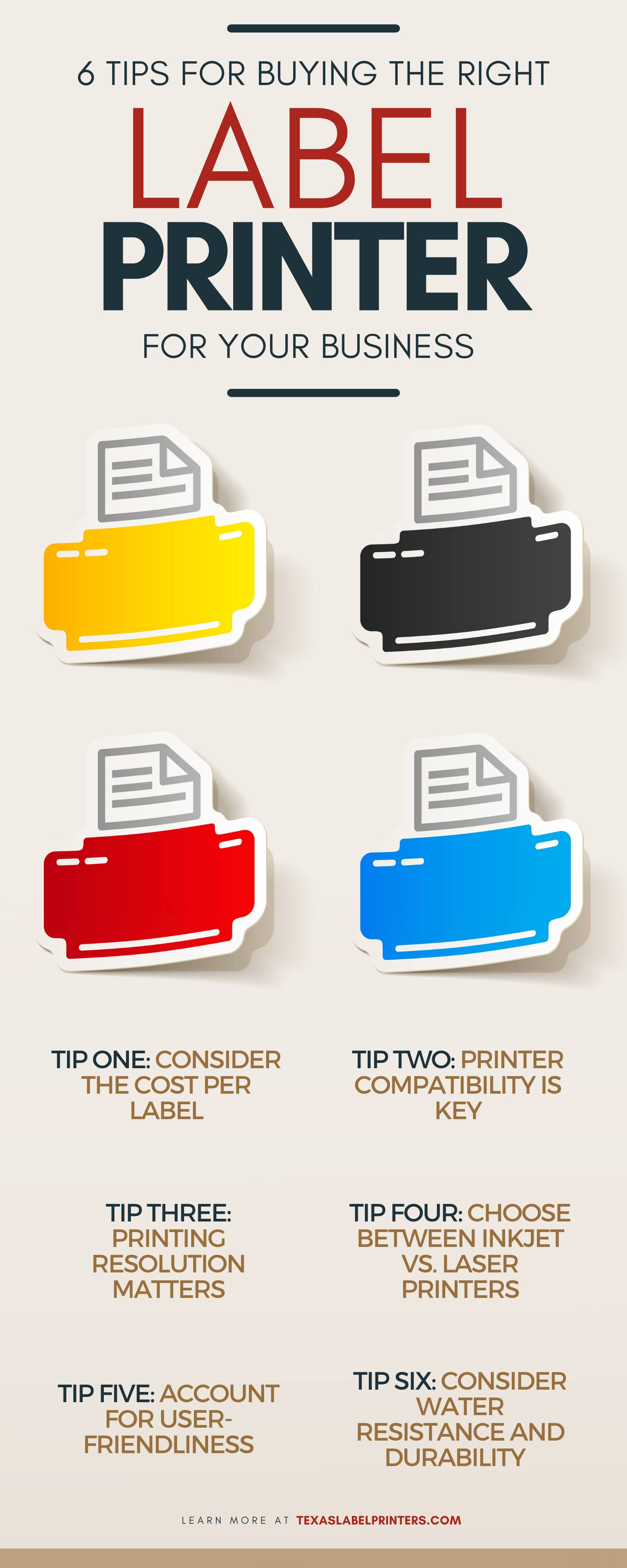 6 Tips for Buying the Right Label Printer for Your Business Infographic