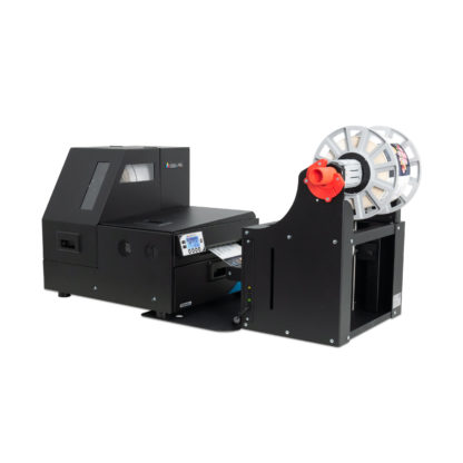 Afinia L801 Color Label Printer shown with the Optional Afinia XL Rewinder