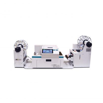 Colordyne 1800 Series C (1800-C) Color Label Printer shown with 1800 Series Unwinder & Rewinder (CDT1800UW & CDT1800RW)