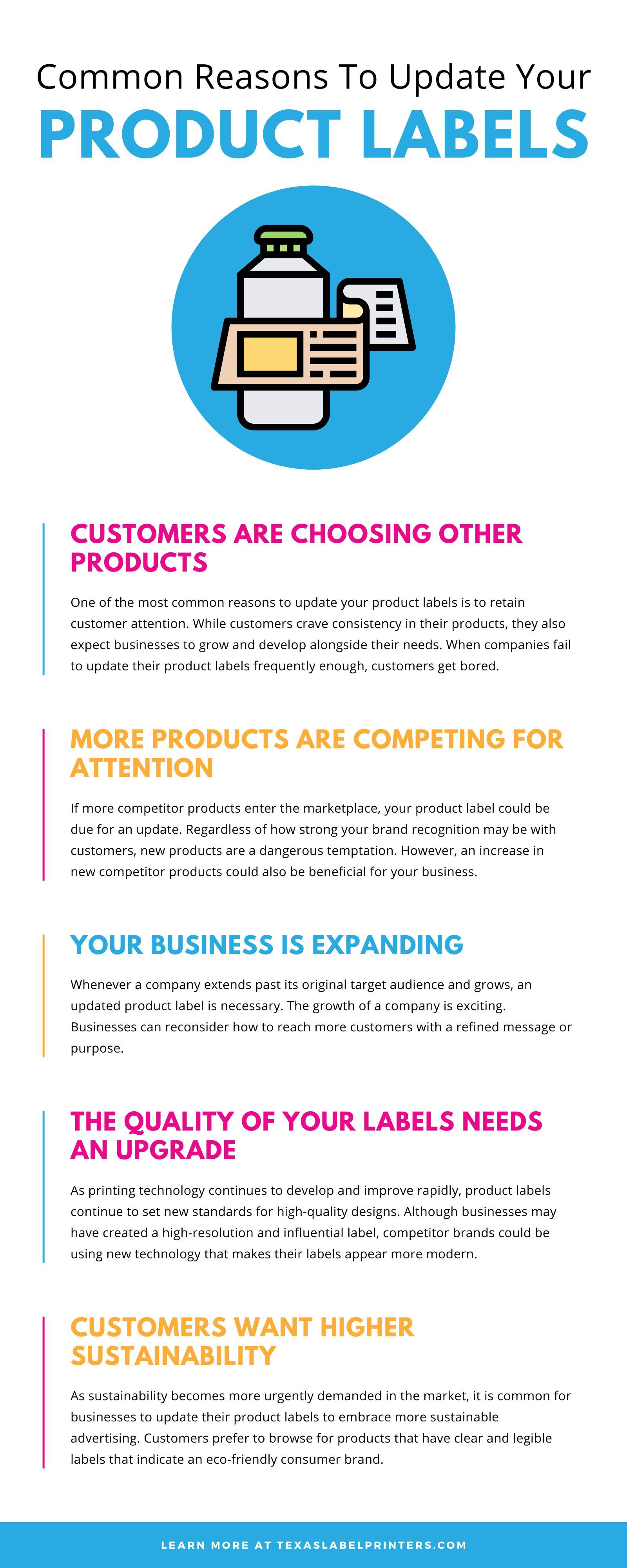 Common Reasons To Update Your Product Labels Infographic