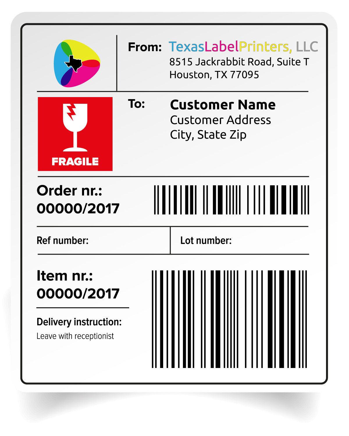 Customized Color Shipping Label
