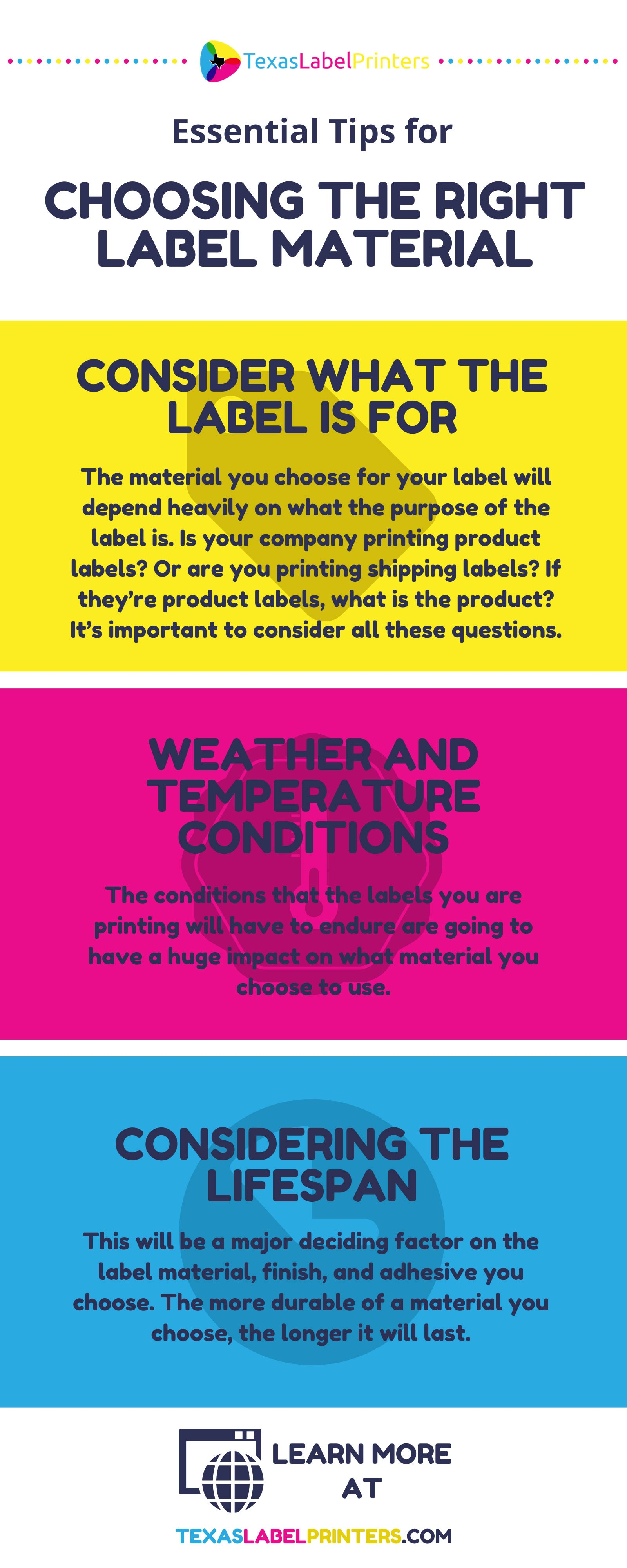 Essential Tips for Choosing the Right Label Material Infographic