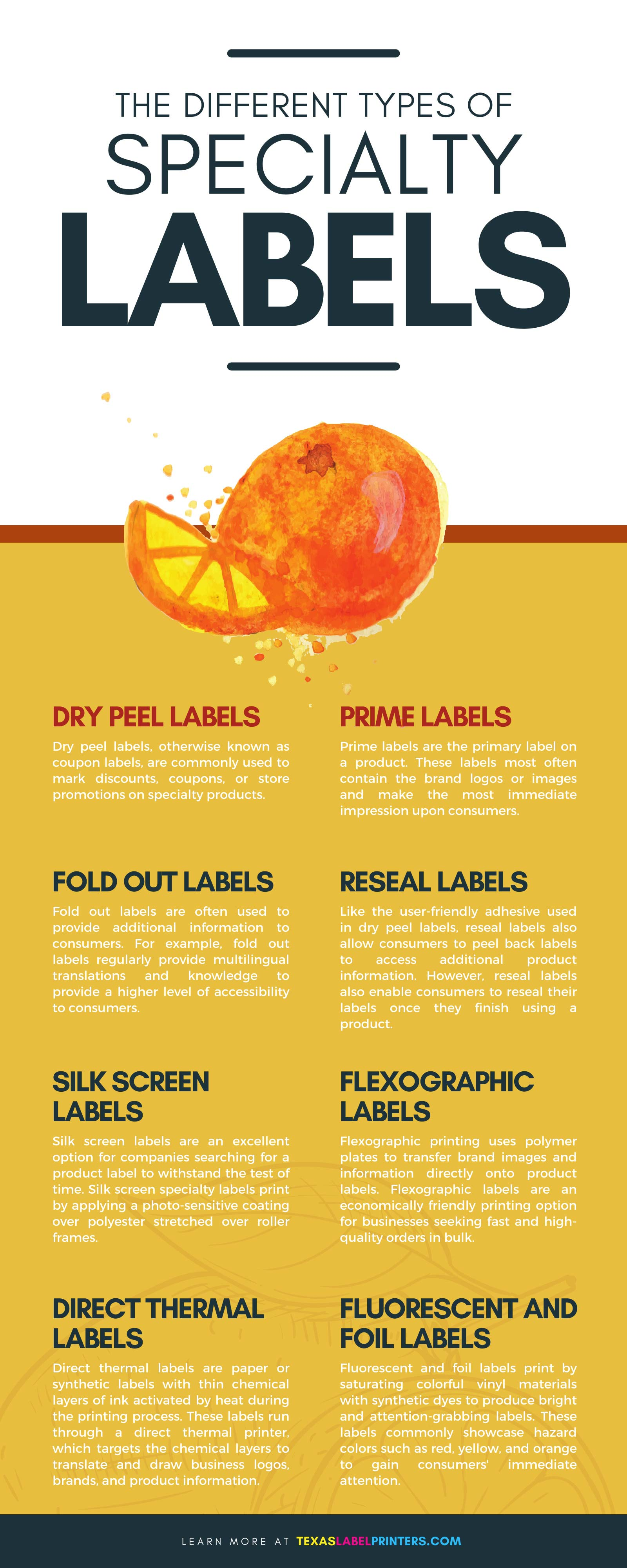 The Different Types of Specialty Labels Infographic