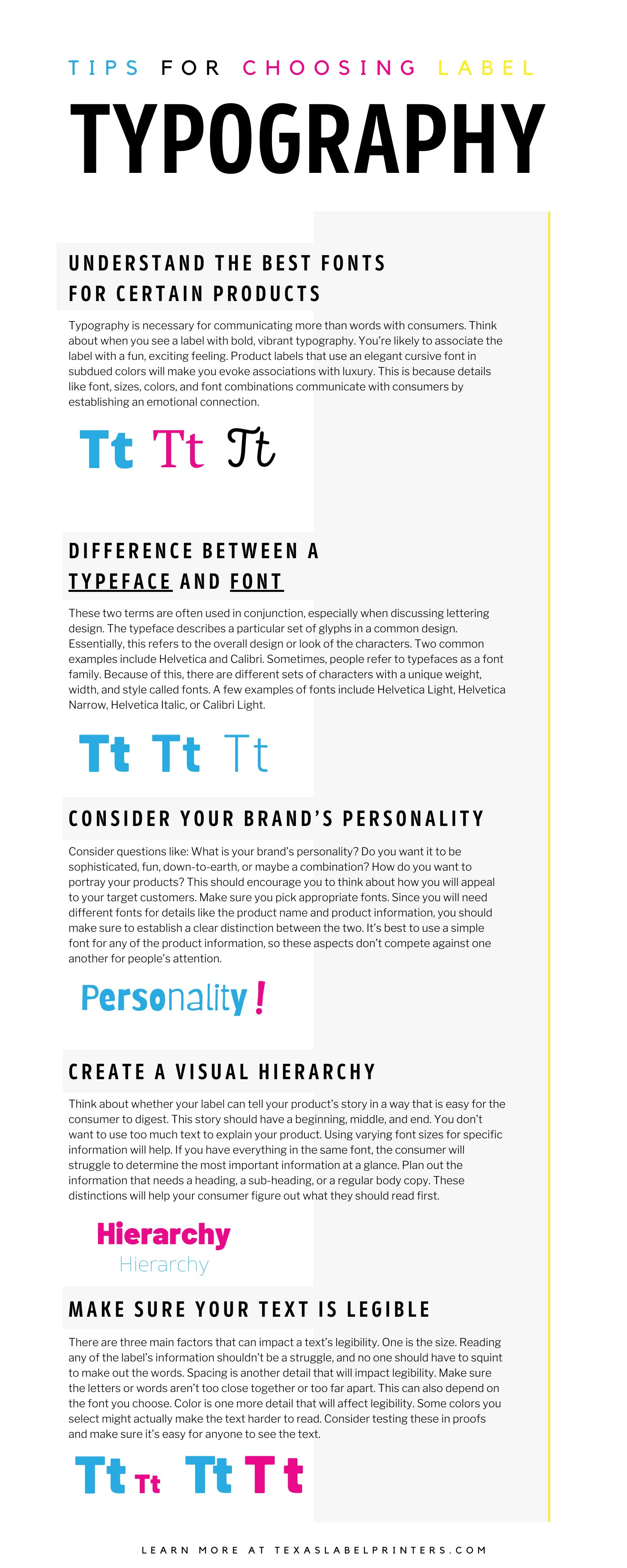Tips for Choosing Label Typography Infographic