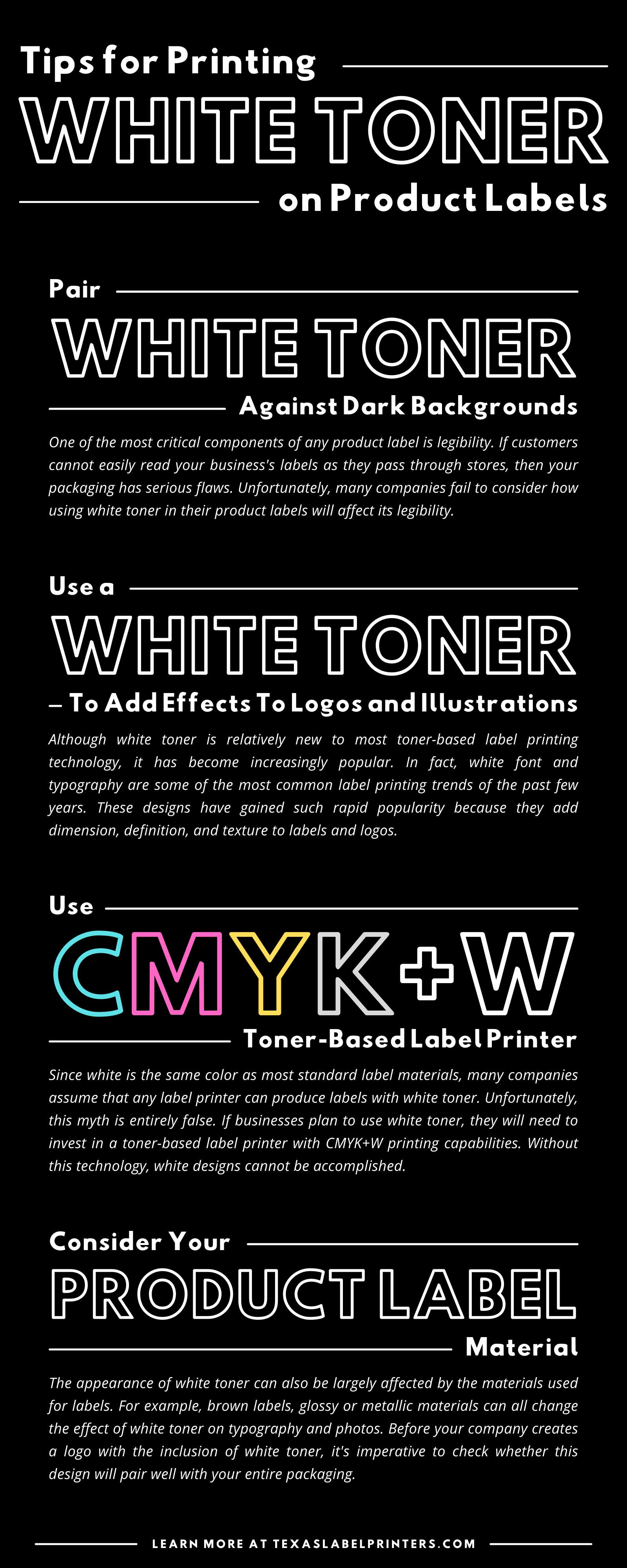 Tips for Printing White Toner on Product Labels Infographic