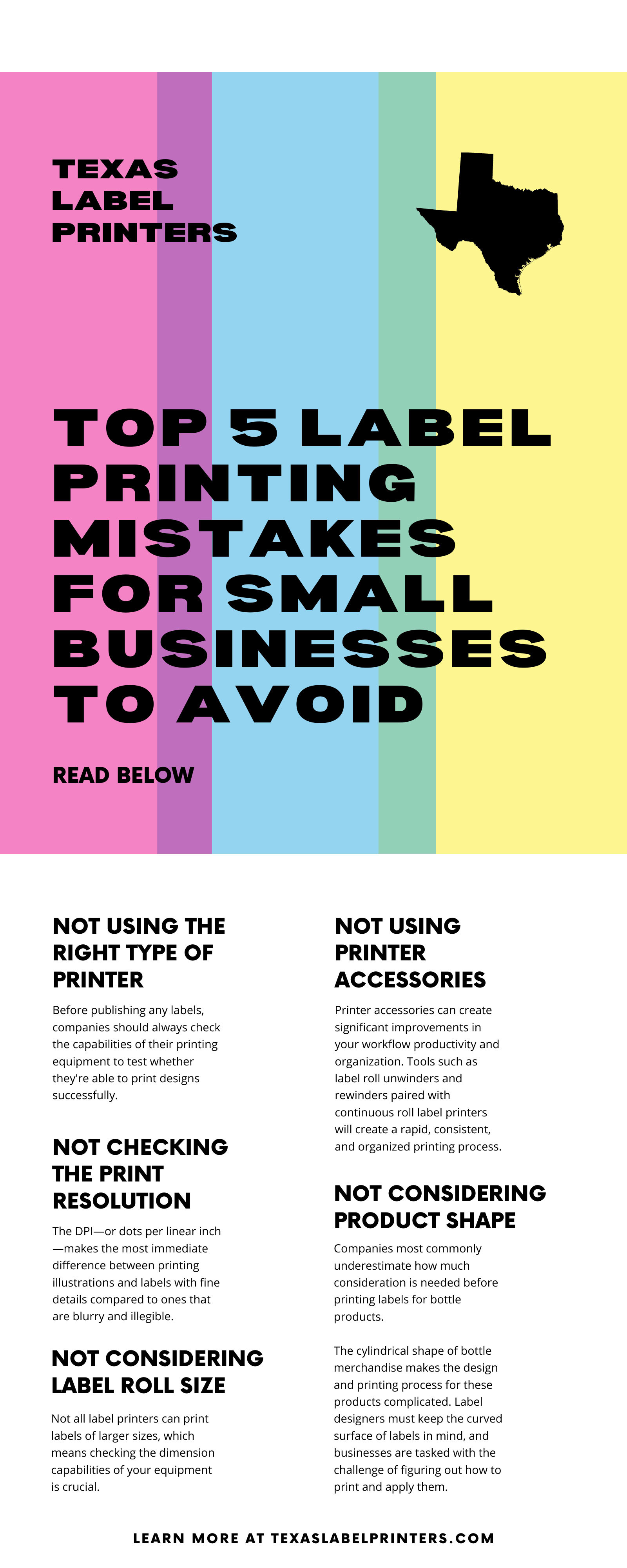 Top 5 Label Printing Mistakes for Small Businesses To Avoid Infographic